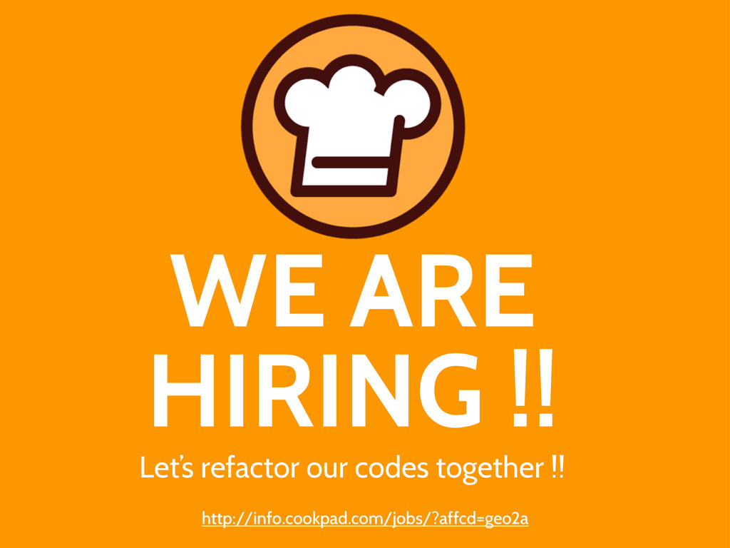 WE ARE HIRING !! Let's refactor our codes toget...