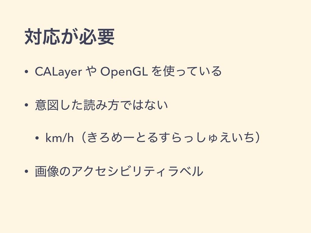 ରԠ͕ඞཁ • CALayer  OpenGL Λ͍ͬͯΔ • ҙਤͨ͠ಡΈํͰͳ͍ •...
