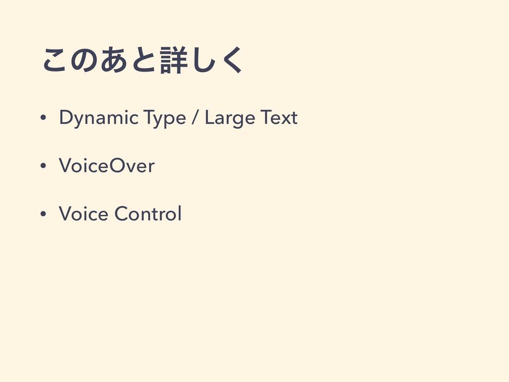 ͜ͷ͋ͱৄ͘͠ • Dynamic Type / Large Text • VoiceOver...