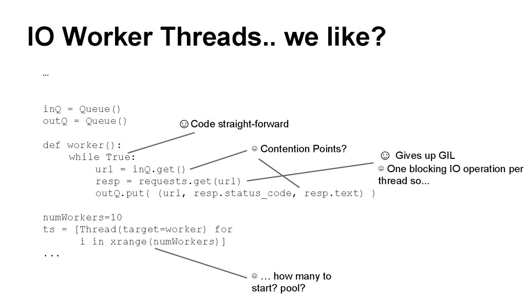 IO Worker Threads.. we like? … inQ = Queue() ou...
