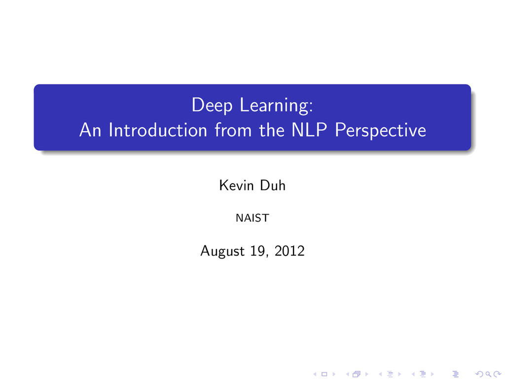 Deep Learning: An Introduction from the NLP Per...