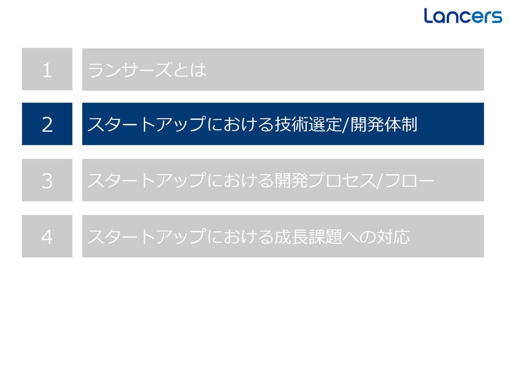 1 ランサーズとは 2 スタートアップにおける技術選定/開発体制 3 スタートアップにおける開...
