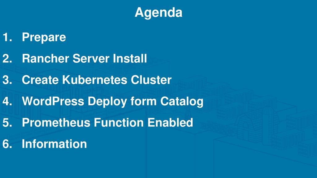 1. Prepare 2. Rancher Server Install 3. Create ...