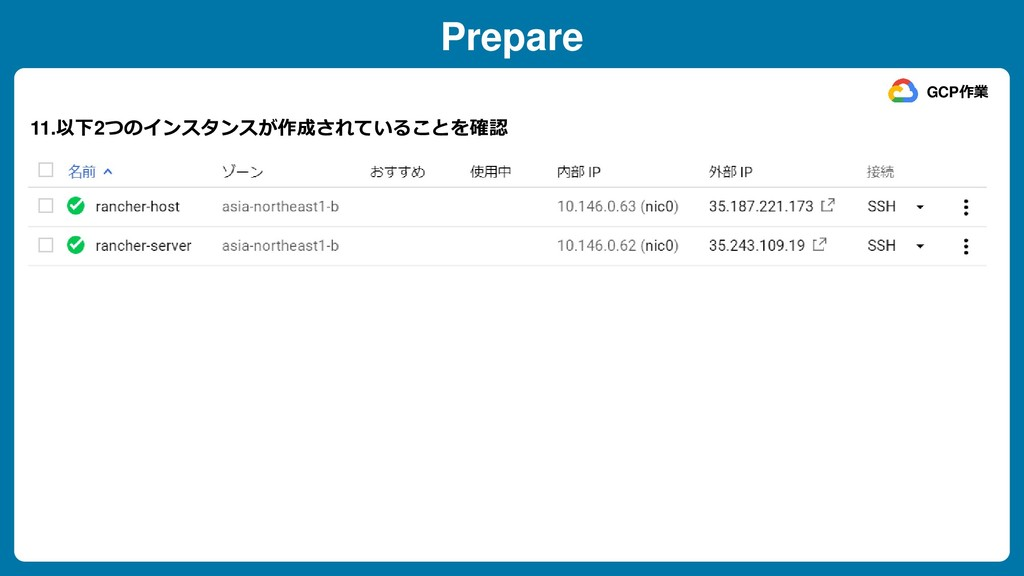 Prepare 11.以下2つのインスタンスが作成されていることを確認 GCP作業