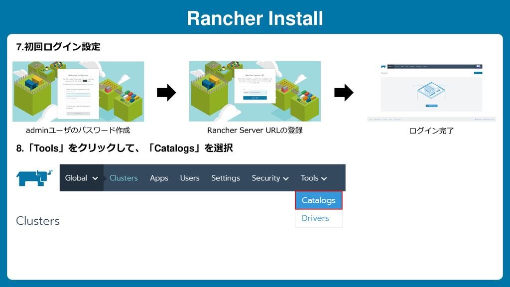 Rancher Install adminユーザのパスワード作成 Rancher Server...