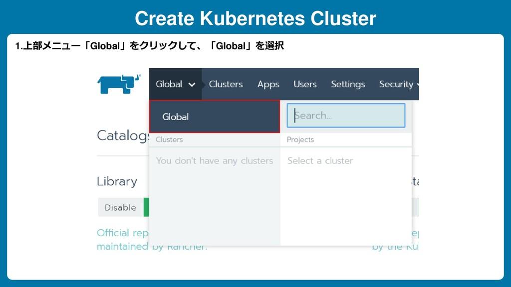 Create Kubernetes Cluster 1.上部メニュー「Global」をクリック...
