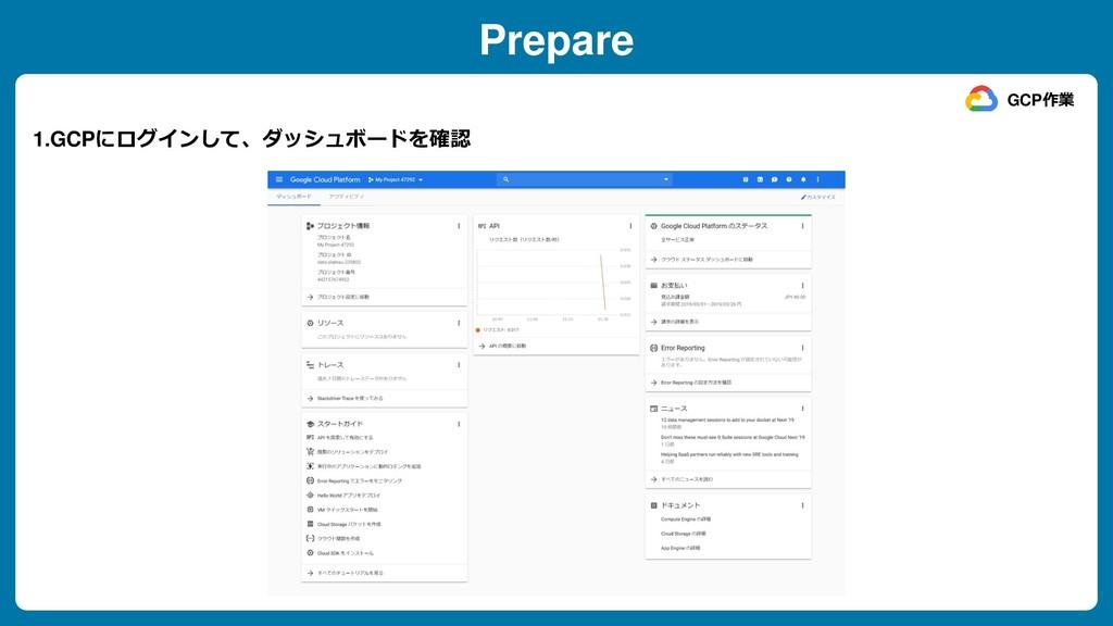 Prepare 1.GCPにログインして、ダッシュボードを確認 GCP作業