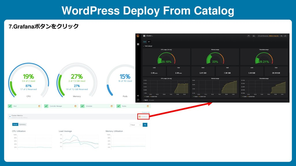 WordPress Deploy From Catalog 7.Grafanaボタンをクリック