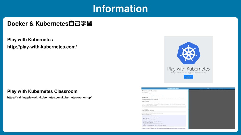 Information Docker & Kubernetes自己学習 http://play...