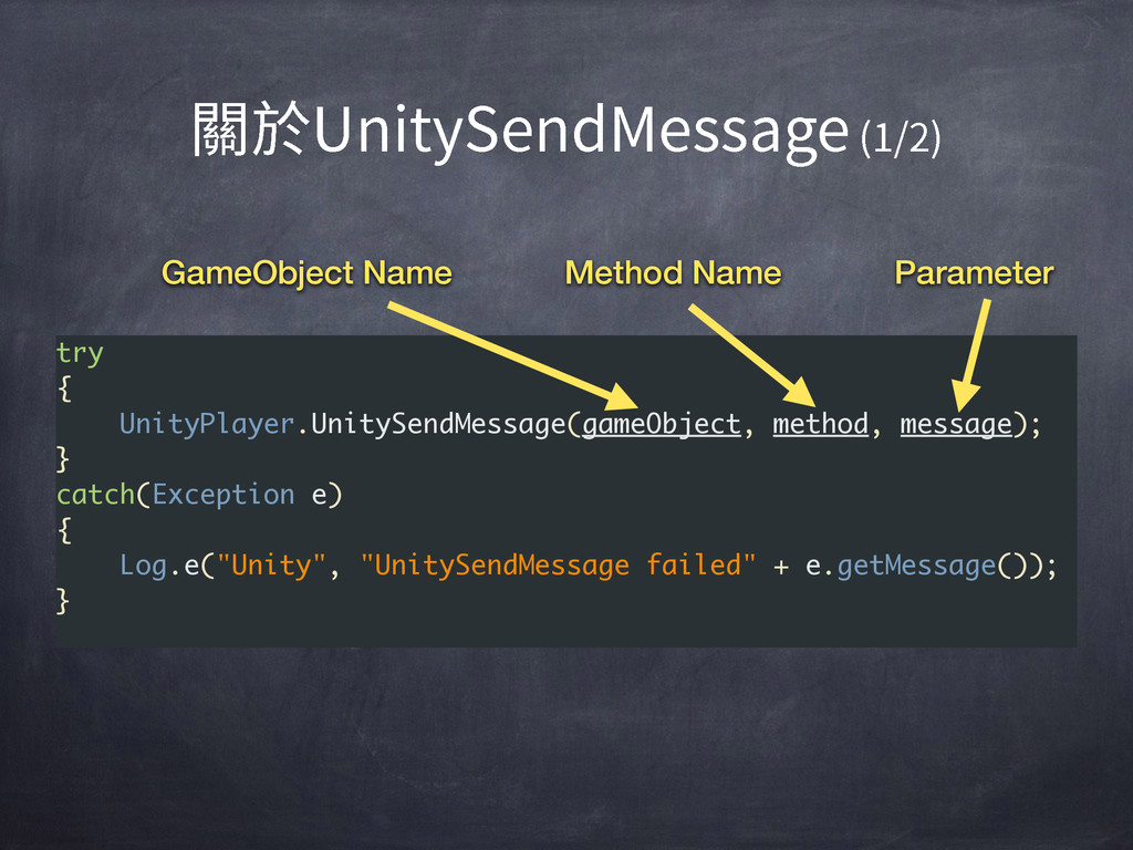 try { UnityPlayer.UnitySendMessage(gameObject, ...