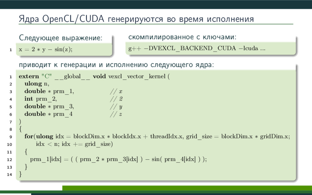 Ядра OpenCL/CUDA генерируются во время исполнен...