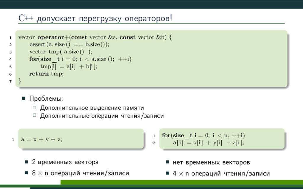 C++ допускает перегрузку операторов! 1 vector o...