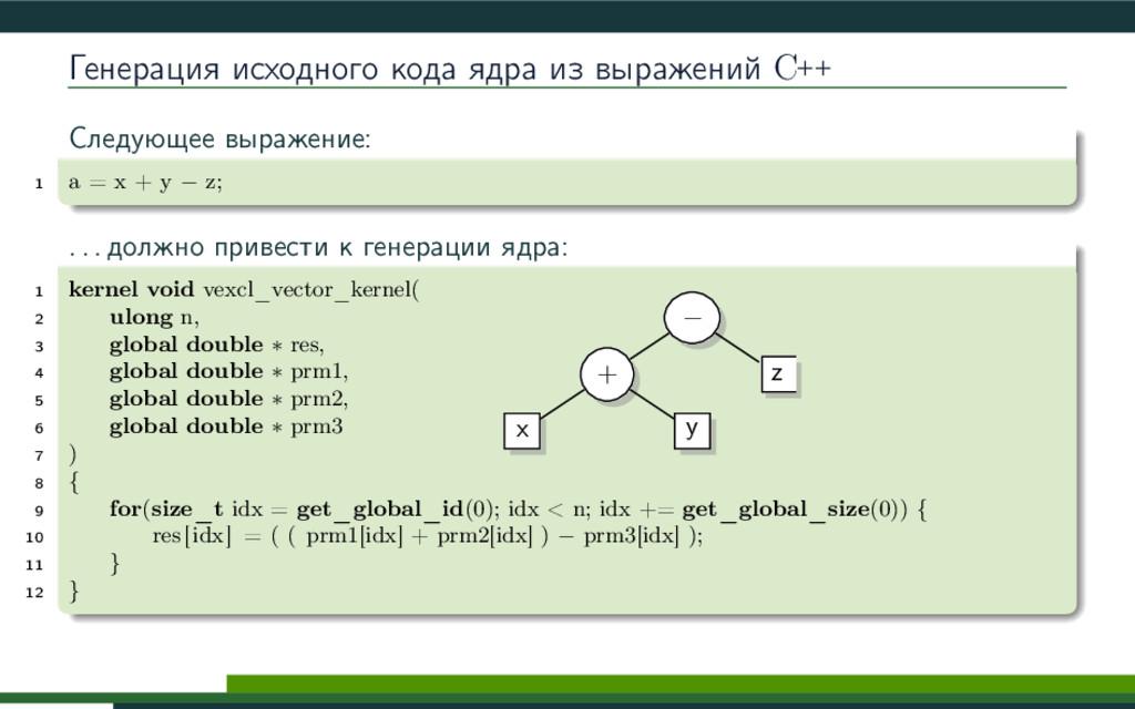 Генерация исходного кода ядра из выражений C++ ...