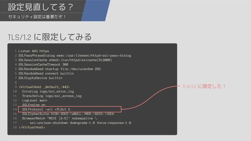 設定見直してる? セキュリティ設定は重要だぞ! TLS/1.2 に限定してみる TLS/1.2...