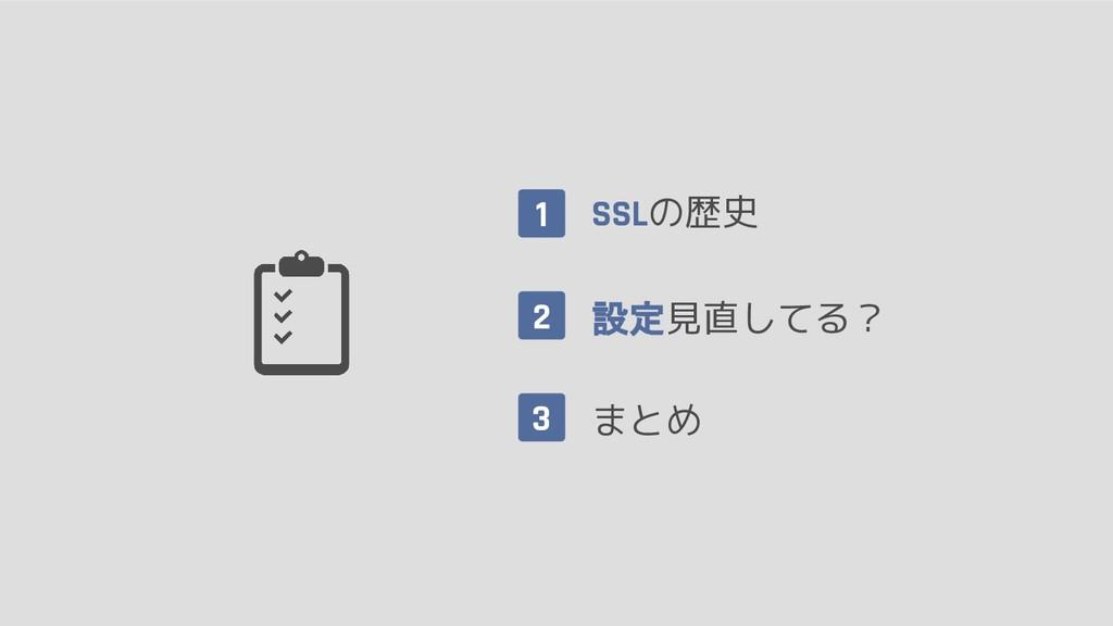 1 SSLの歴史 設定見直してる? まとめ 2 3