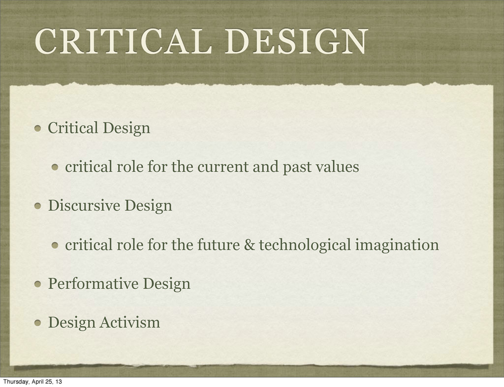 CRITICAL DESIGN Critical Design critical role f...