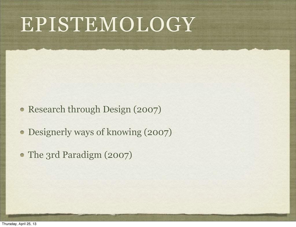 EPISTEMOLOGY Research through Design (2007) Des...