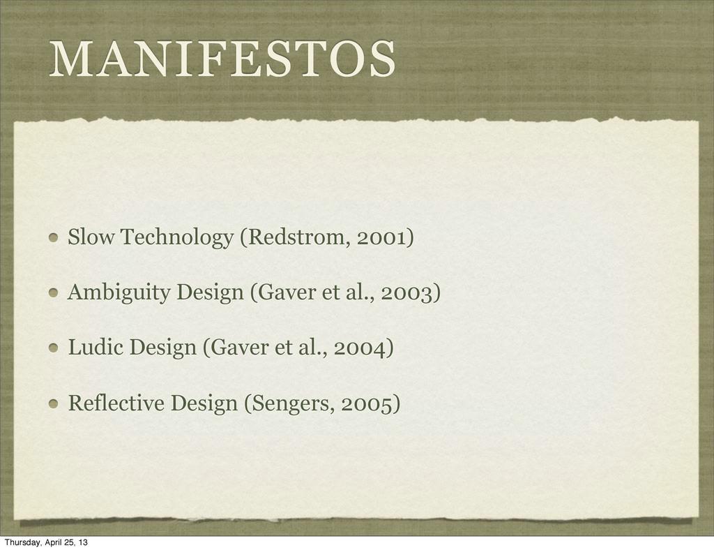 MANIFESTOS Slow Technology (Redstrom, 2001) Amb...