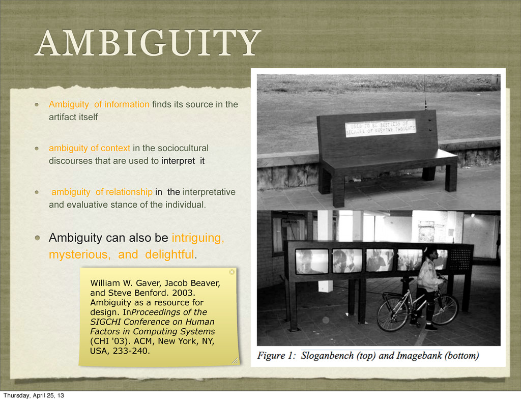 AMBIGUITY Ambiguity of information finds its so...