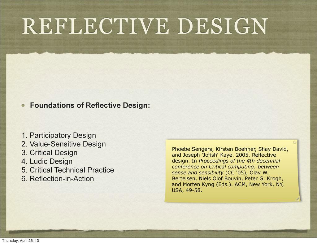 REFLECTIVE DESIGN Foundations of Reflective Des...