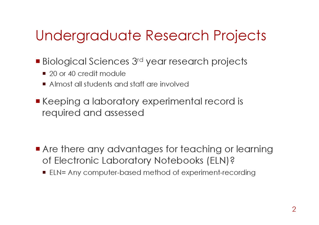 Undergraduate Research Projects Biological Sc...