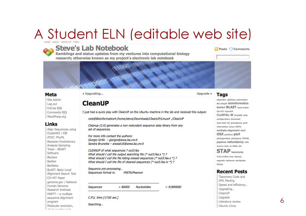 A Student ELN (editable web site) 6