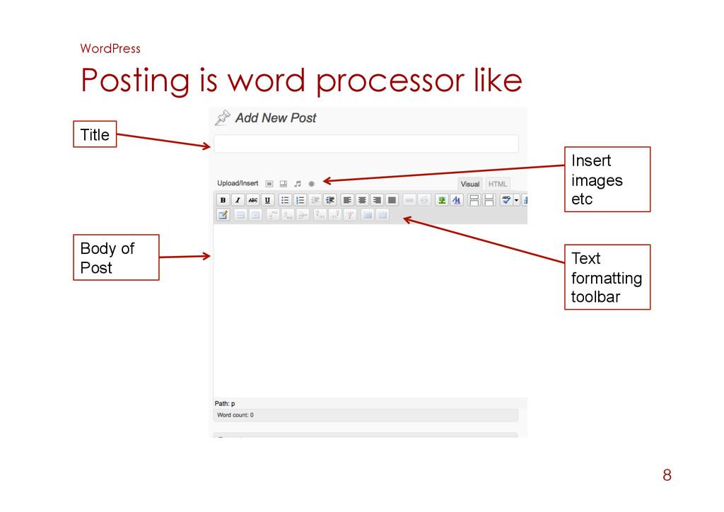 WordPress Posting is word processor like 8 Titl...