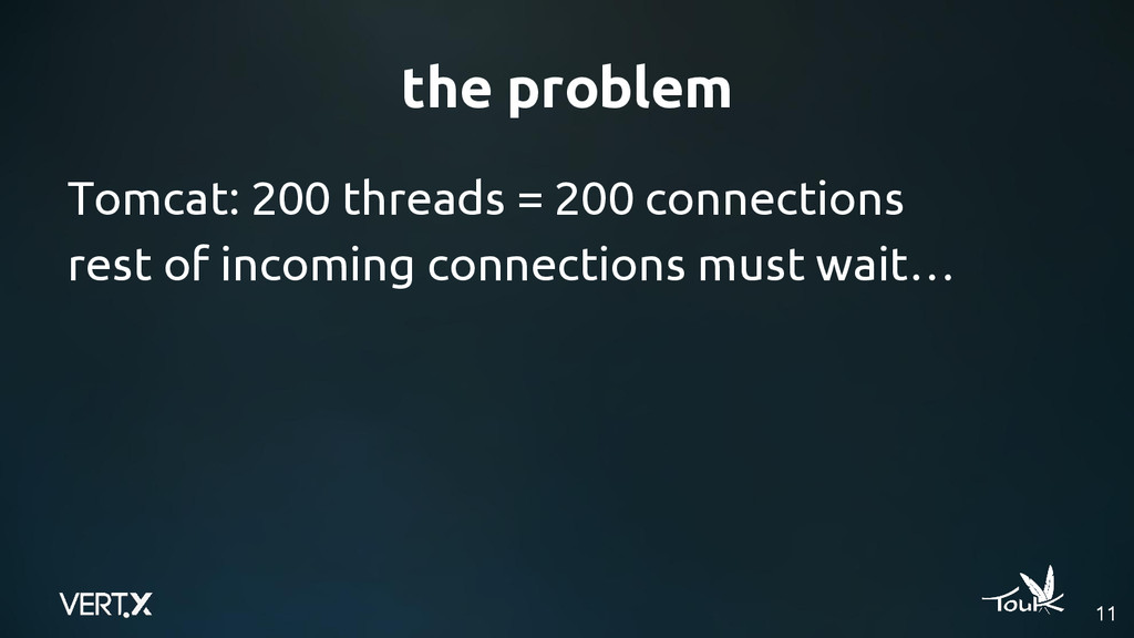 the problem Tomcat: 200 threads = 200 connectio...