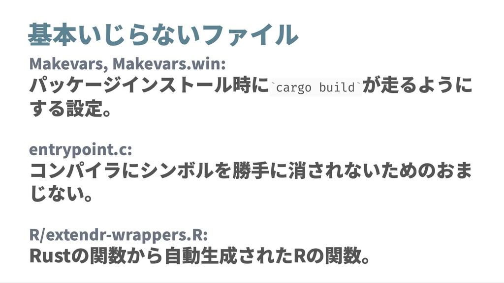 基本いじらないファイル Makevars, Makevars.win: パッケージインストール...