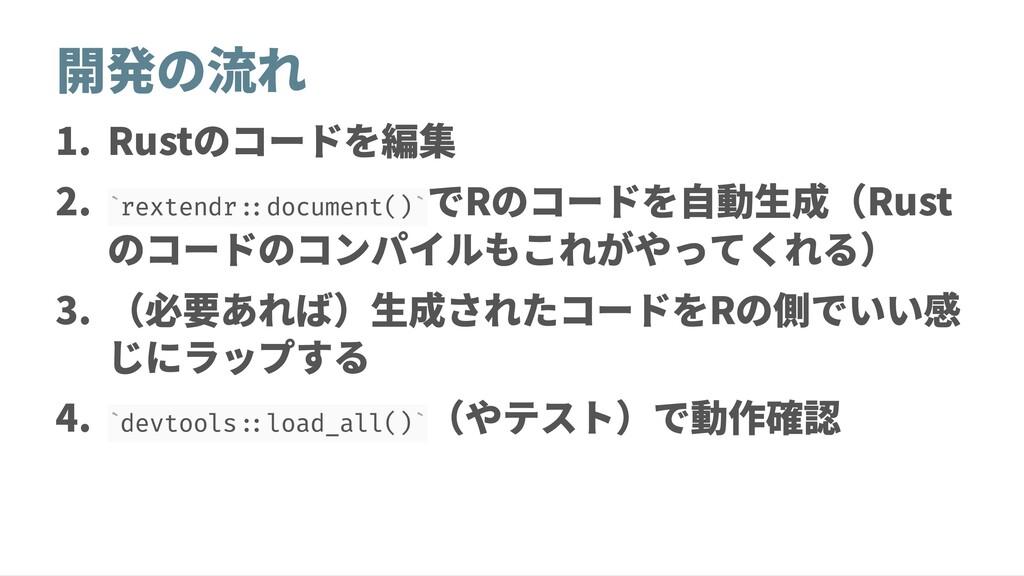 開発の流れ 1. Rustのコードを編集 2. rextendr::document() でR...