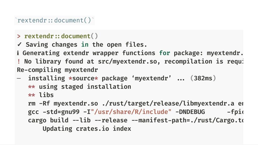rextendr::document() ` ` > rextendr::document()...