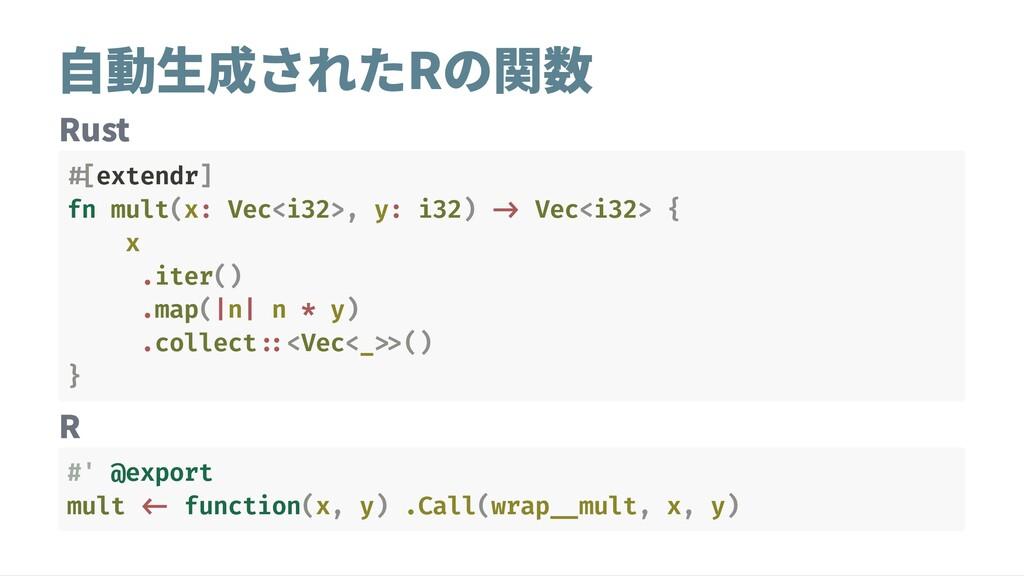 自動生成されたRの関数 Rust R #[extendr] fn mult(x: Vec<i3...