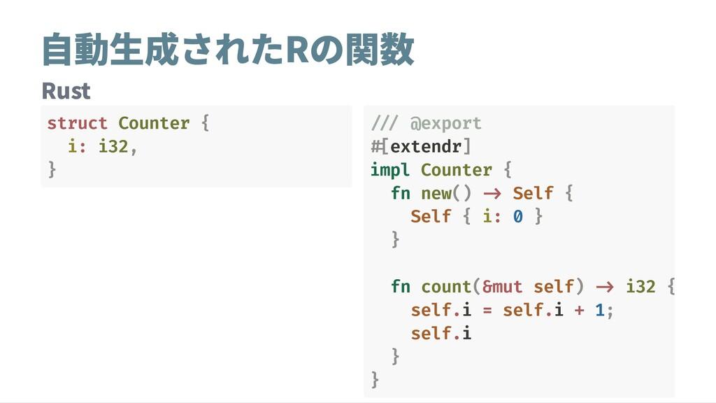 自動生成されたRの関数 Rust struct Counter { i: i32, } ///...