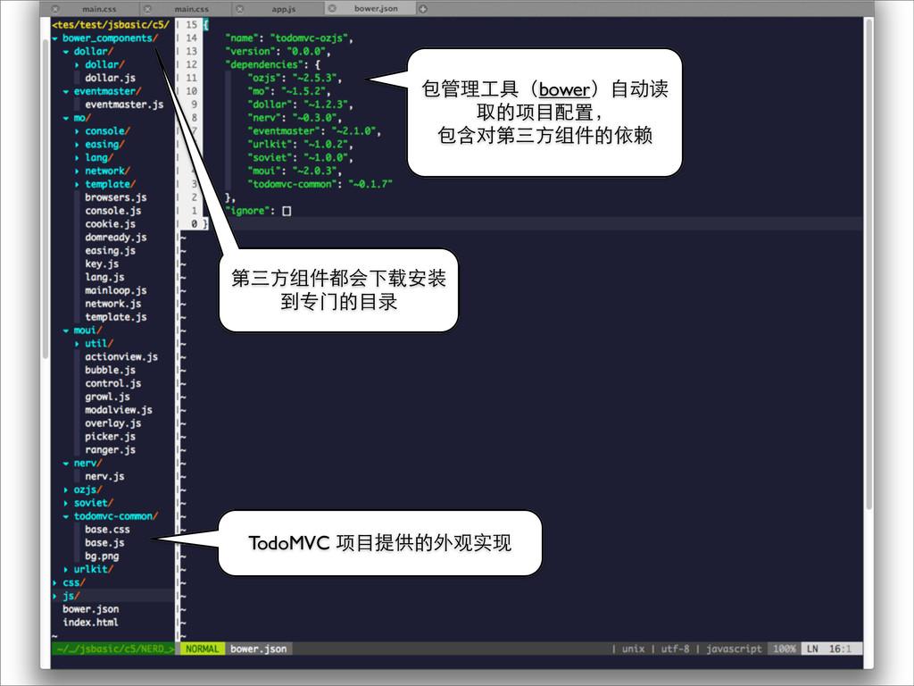 第三⽅方组件都会下载安装 到专⻔门的⺫⽬目录 包管理⼯工具(bower)⾃自动读 取的项⺫⽬目...
