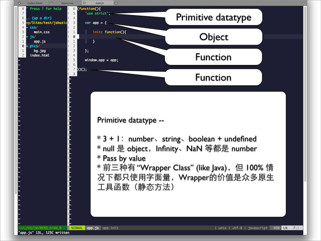 Function Object Function Primitive datatype -- ...