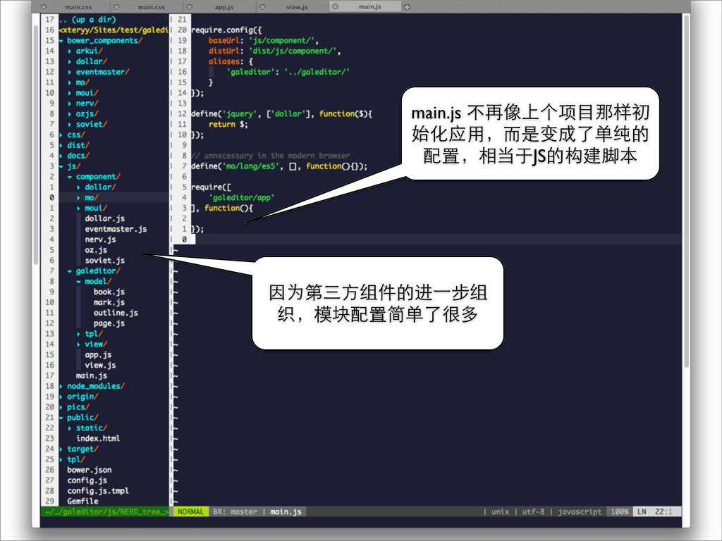 因为第三⽅方组件的进⼀一步组 织,模块配置简单了很多 main.js 不再像上个项⺫⽬目那样初...