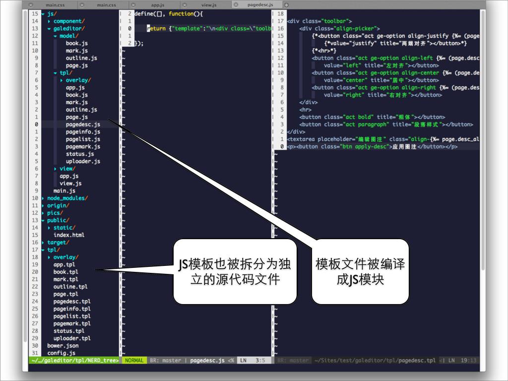 JS模板也被拆分为独 ⽴立的源代码⽂文件 模板⽂文件被编译 成JS模块