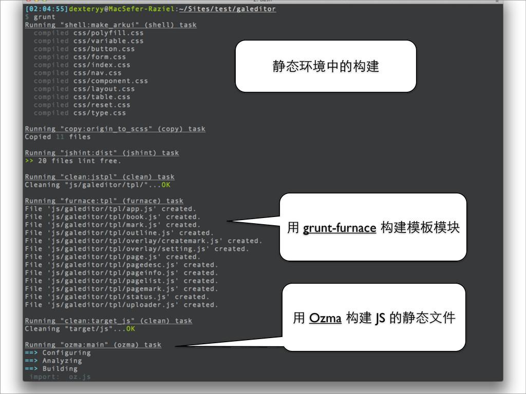 静态环境中的构建 ⽤用 grunt-furnace 构建模板模块 ⽤用 Ozma 构建 JS ...
