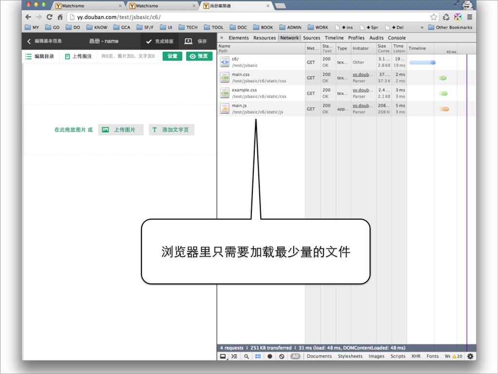 浏览器⾥里只需要加载最少量的⽂文件