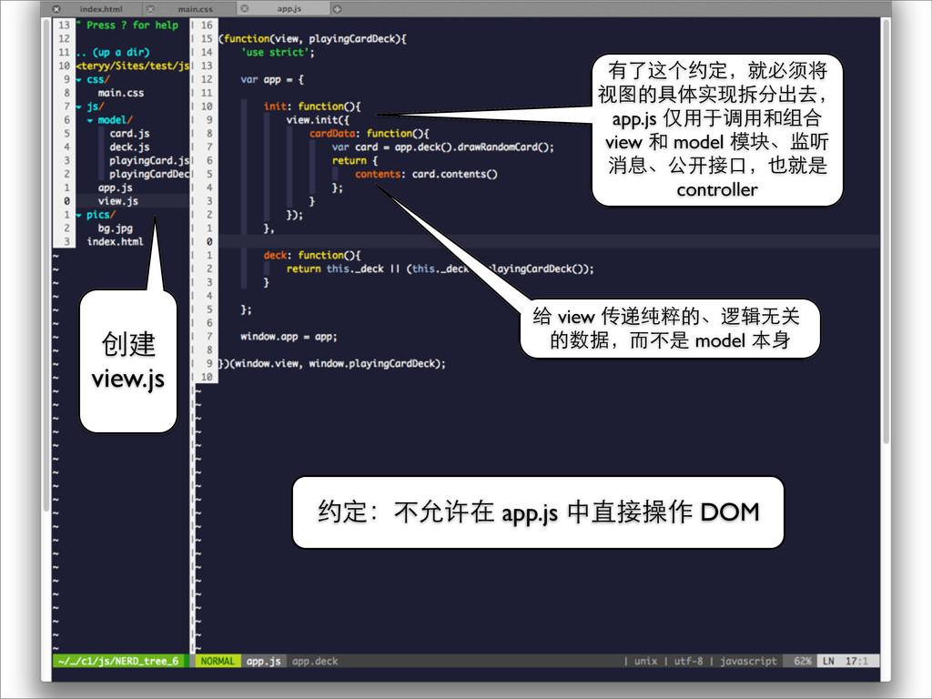 约定:不允许在 app.js 中直接操作 DOM 有了这个约定,就必须将 视图的具体实现拆分出...