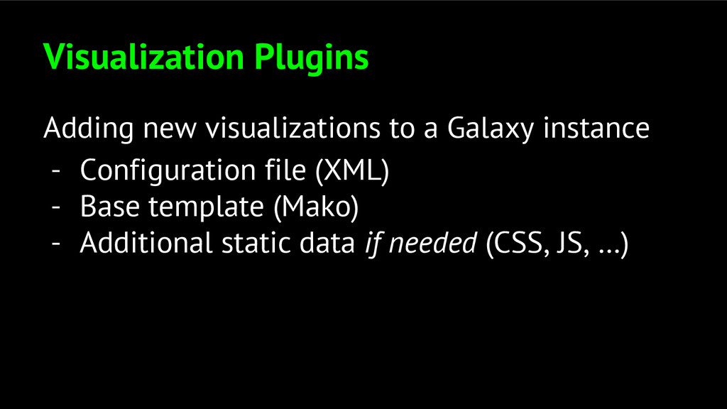 Visualization Plugins Adding new visualizations...