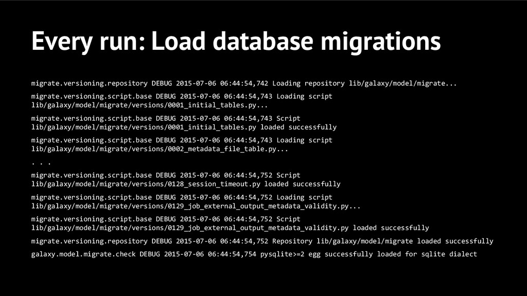 Every run: Load database migrations migrate.ver...