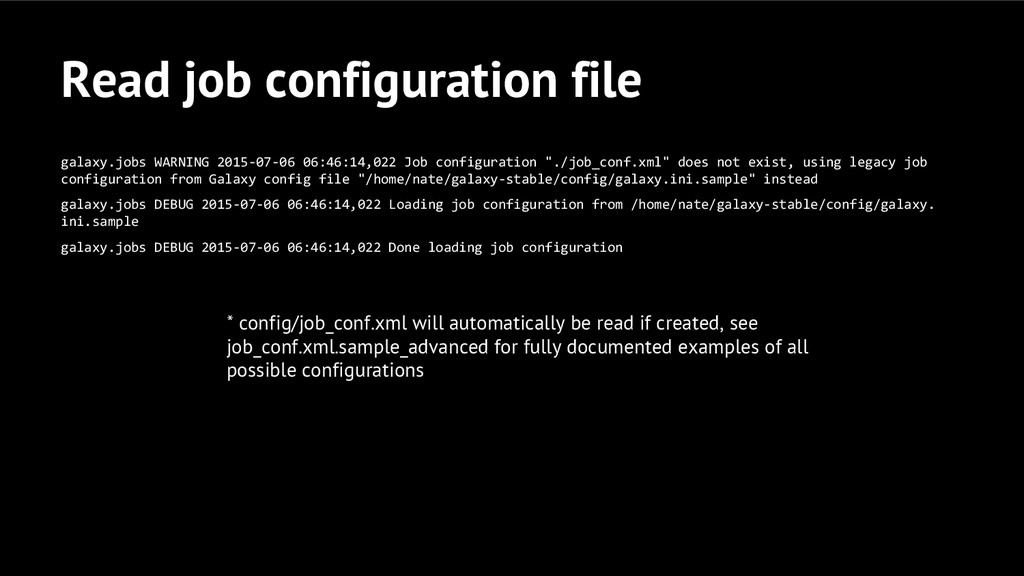 Read job configuration file galaxy.jobs WARNING...