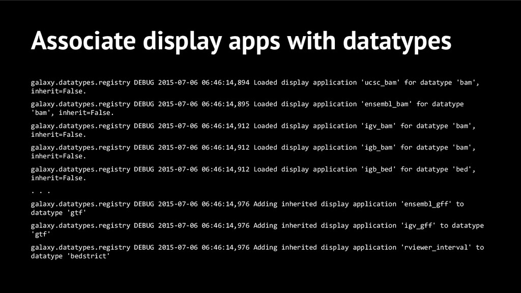 Associate display apps with datatypes galaxy.da...