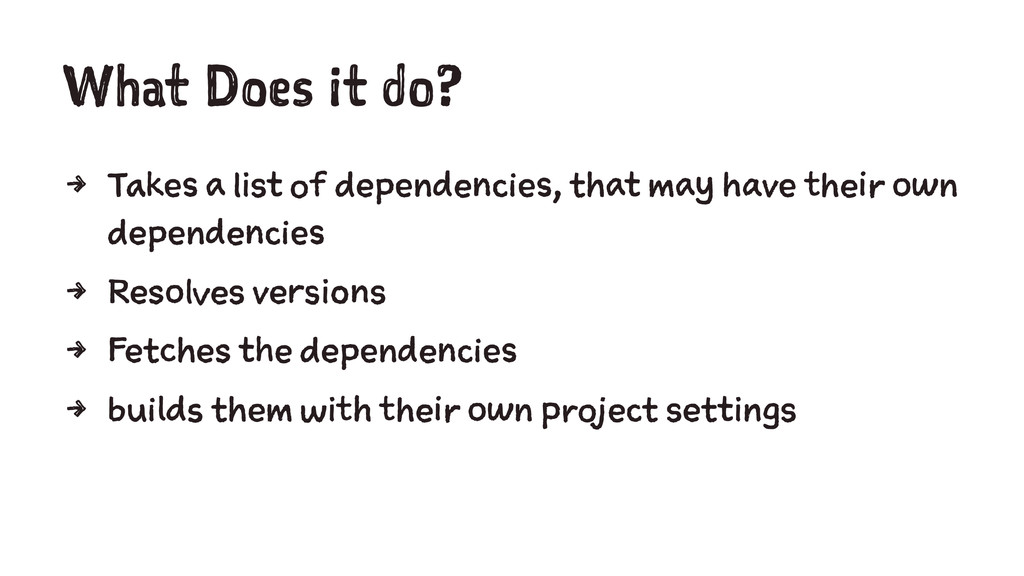 What Does it do? 4 Takes a list of dependencies...