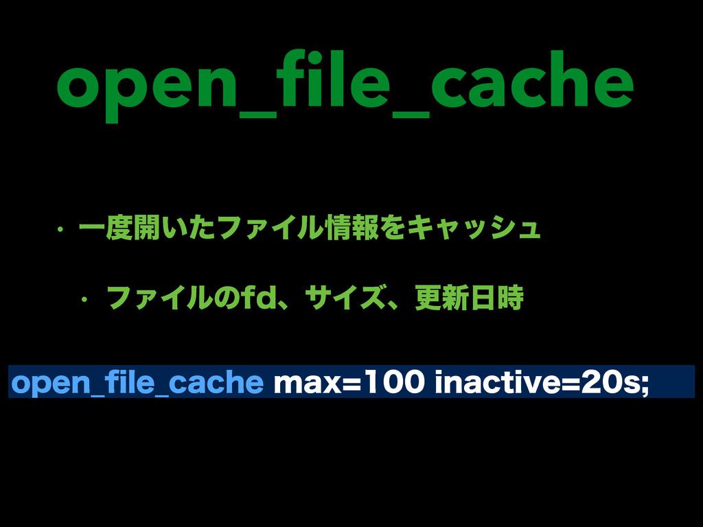 open_file_cache w Ұ։͍ͨϑΝΠϧใΛΩϟογϡ w ϑΝΠϧͷGEɺα...