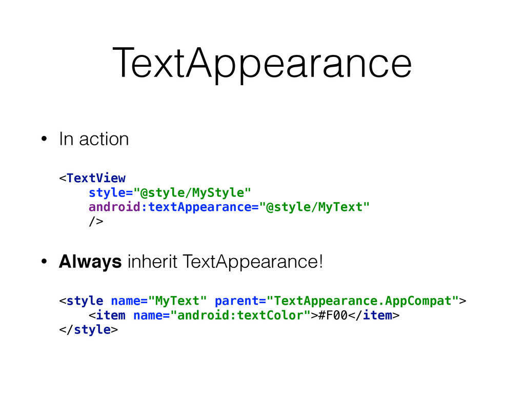 """TextAppearance • In action <TextView style=""""@s..."""
