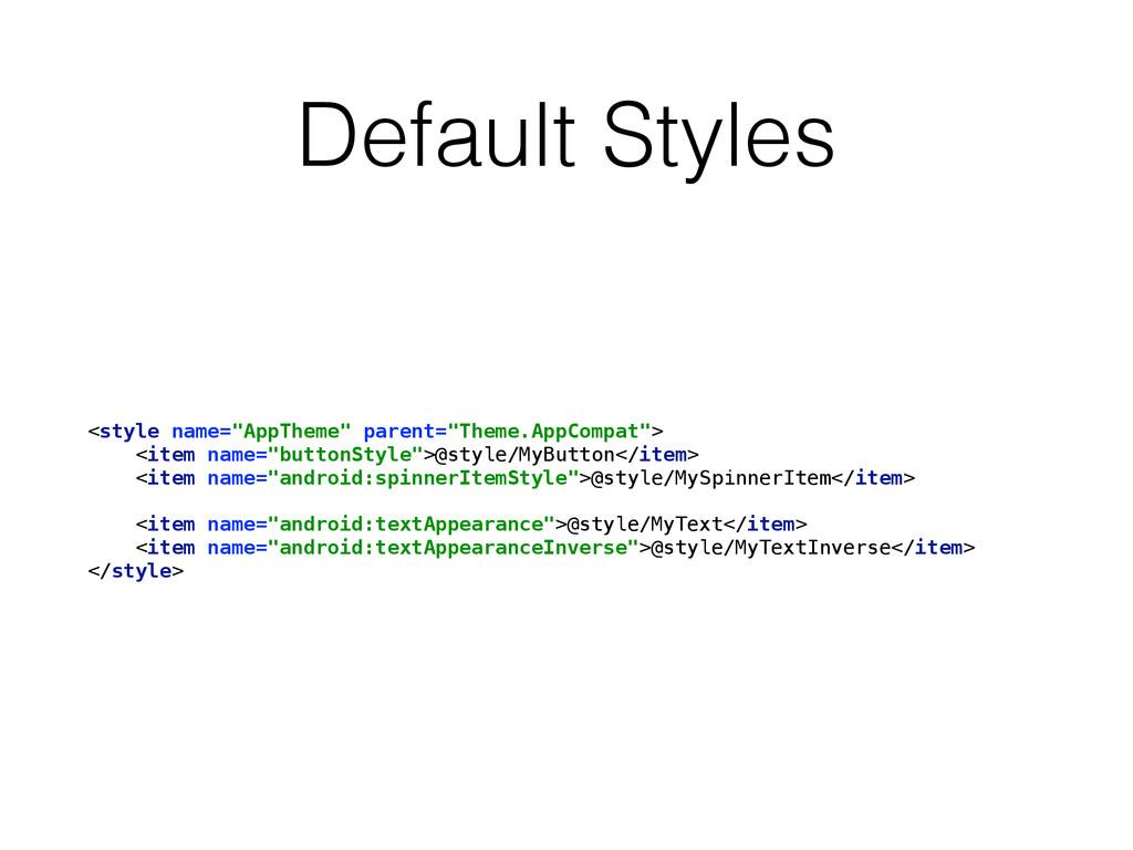 """Default Styles <style name=""""AppTheme"""" parent=""""T..."""