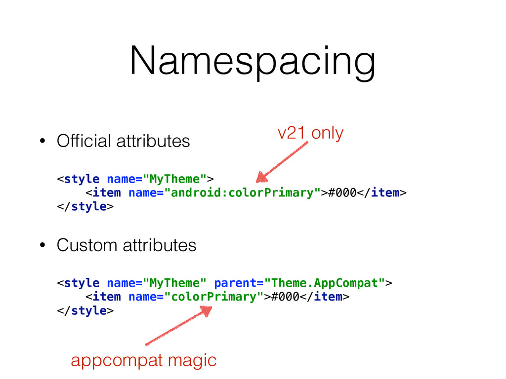 """Namespacing • Official attributes <style name=""""M..."""