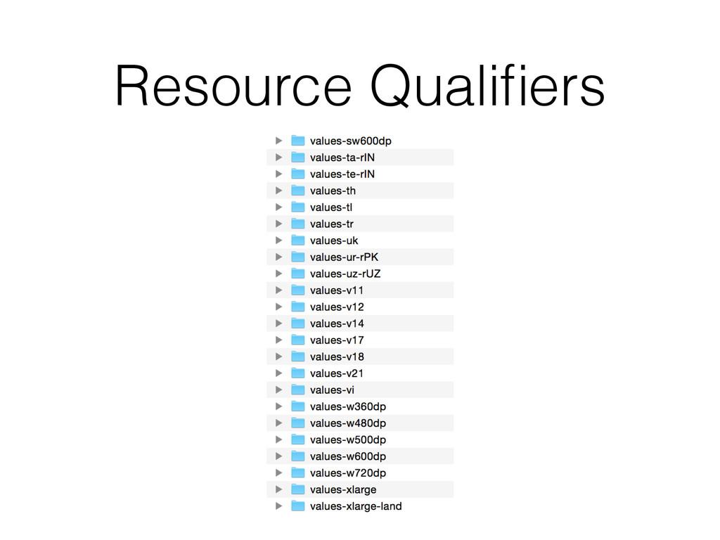 Resource Qualifiers
